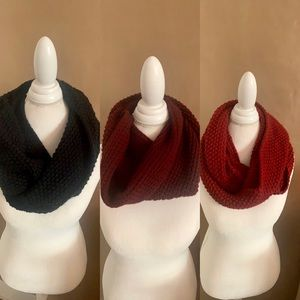 Lot of 3 Cozy Infinity Scarves